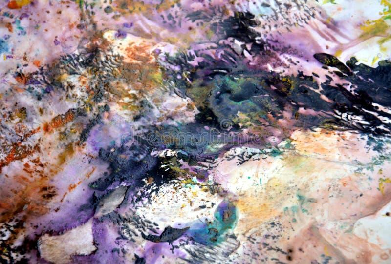Färger för mörka fläckar för mjuk rosa purpurfärgad violetsvart vita pastellfärgade, ljus pastellfärgad bakgrund för målarfärgakr arkivbilder