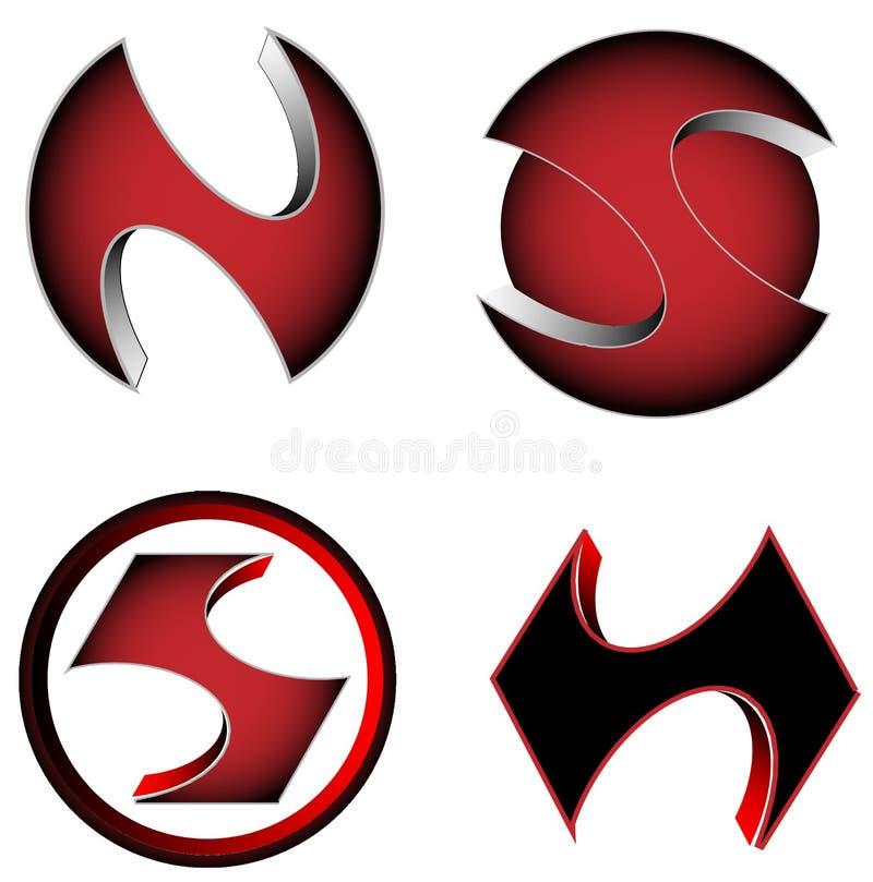 Färger för symboler för logotyp för dobbel för vektor 3D affär släkta röda och svarta, royaltyfri illustrationer