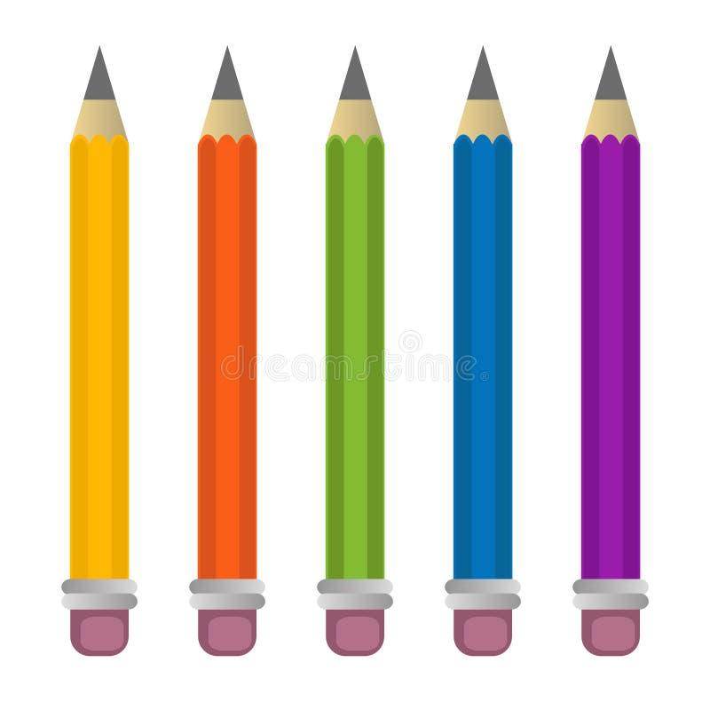 Färger för vektor för blyertspennaillustration fastställda för ungar royaltyfri fotografi