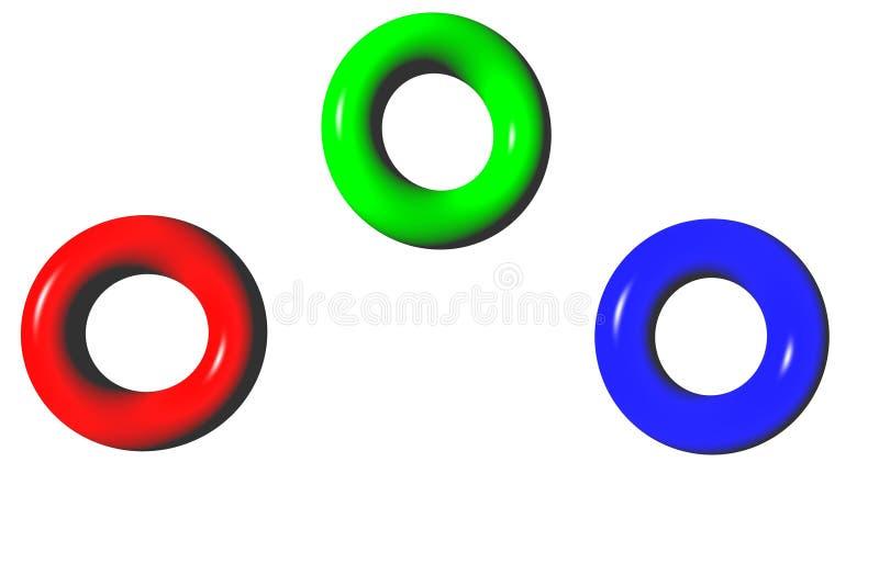 färger huvudtre stock illustrationer