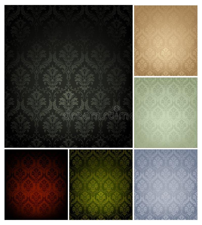 färger mönsan den seamless wallpaperen för set sex stock illustrationer