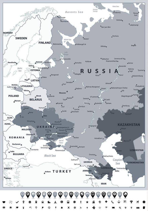 Färger och symboler för fläck för Eastern Europe politiska översiktsgråton royaltyfri illustrationer