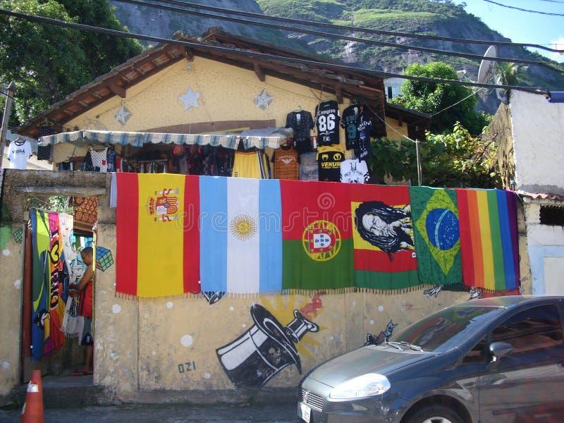 Färger på favelaen av Vidigalen, i Rio de Janeiro arkivbild