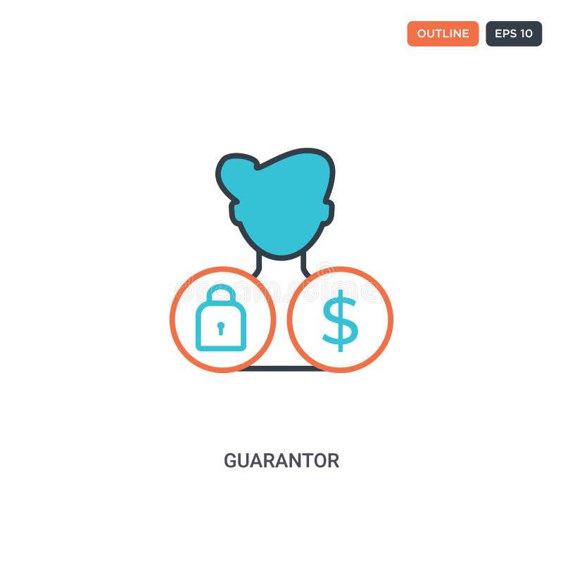 2-färgers ikon för konceptradsvektor för garantor isolerade två färgade kontursymboler för garantor med blå och röd färg kan anvä vektor illustrationer