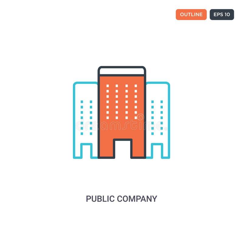 2-färgers ikon för konceptradsvektor för offentligt företag isolerade två färgade konturikoner för det offentliga företaget med b royaltyfri illustrationer