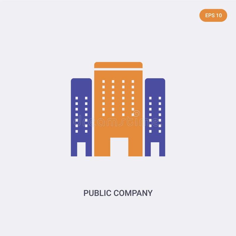 2-färgers ikon för konceptvektor för offentligt företag isolerad två färger Den gemensamma företagsvektorsymbolen utformad med bl stock illustrationer