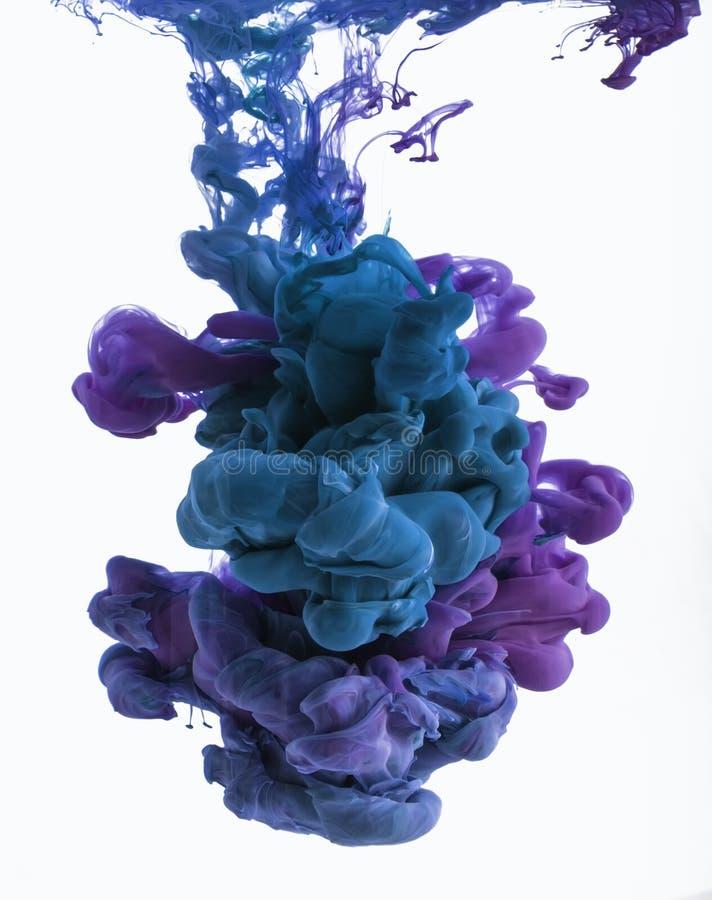 Färgfärgpulverdroppe i vatten Cyan blå violet royaltyfria bilder