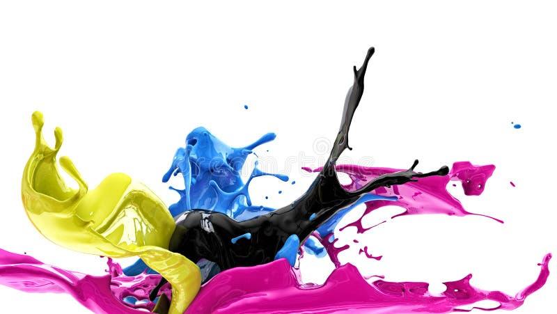 Färgfärgstänk, cmyk royaltyfri illustrationer
