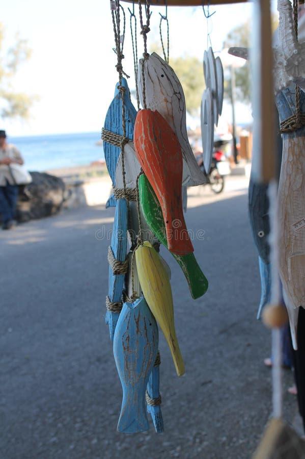 Färgfisk på stranden royaltyfria bilder