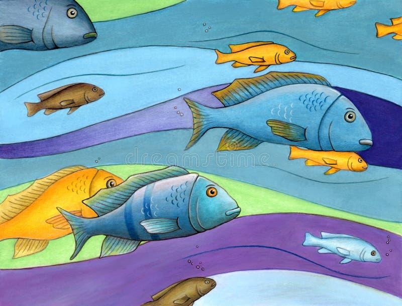 Färgfiskar royaltyfri illustrationer
