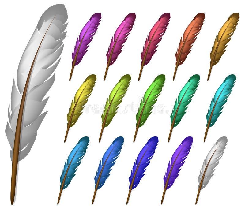 färgfjäder royaltyfri illustrationer
