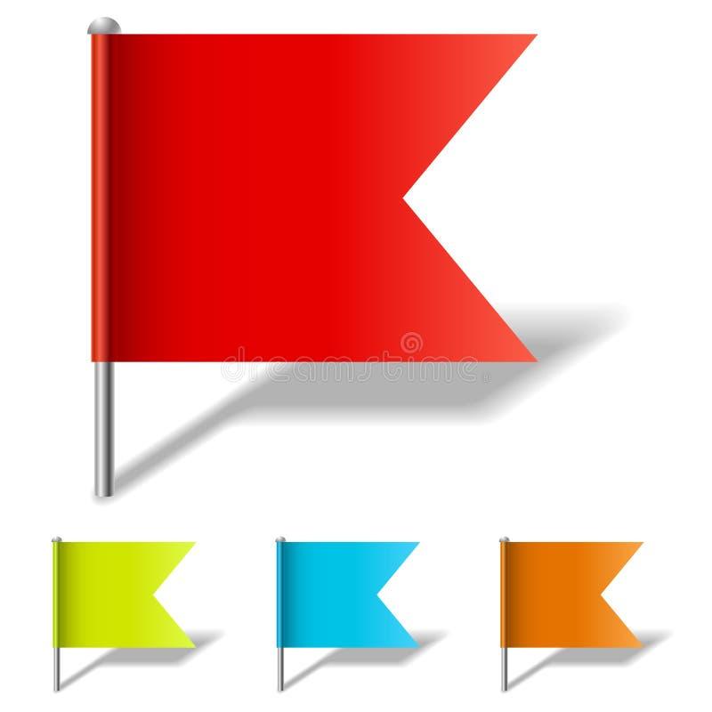 Färgflaggastift stock illustrationer