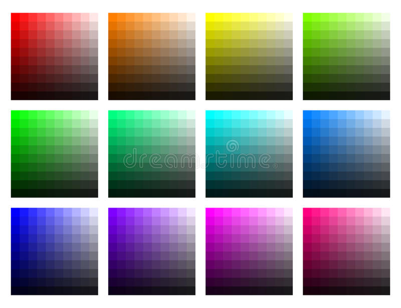 Färgflikar med ljusstyrka och mättande vektor royaltyfri illustrationer