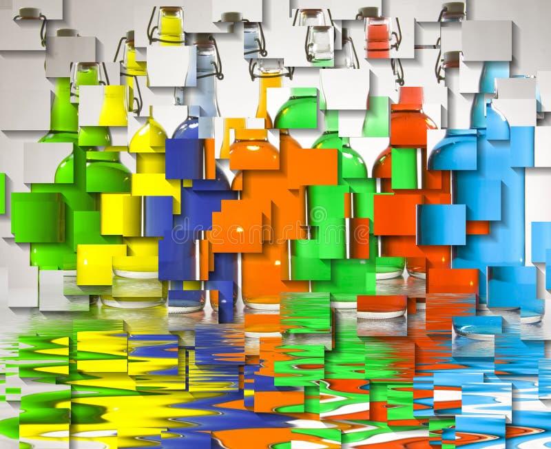 Färgfyllda flaskor arkivbilder