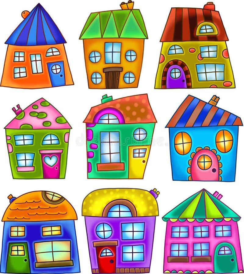 Färgfyllda hus med fyrkantiga luckor royaltyfri bild