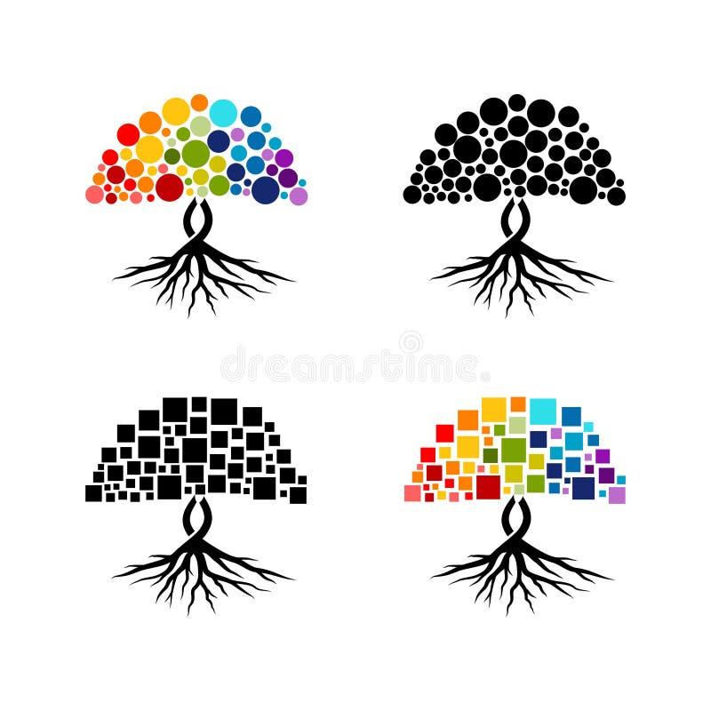 Färgglad abstrakt trädvektorsamling på vit bakgrund stock illustrationer