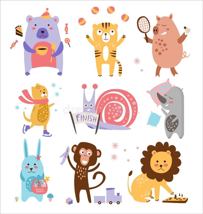 Färgglad barnslig djurvektoruppsättning stock illustrationer