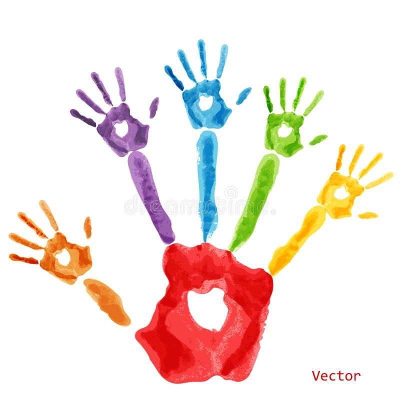 färgglad handprintmålarfärg vektor illustrationer