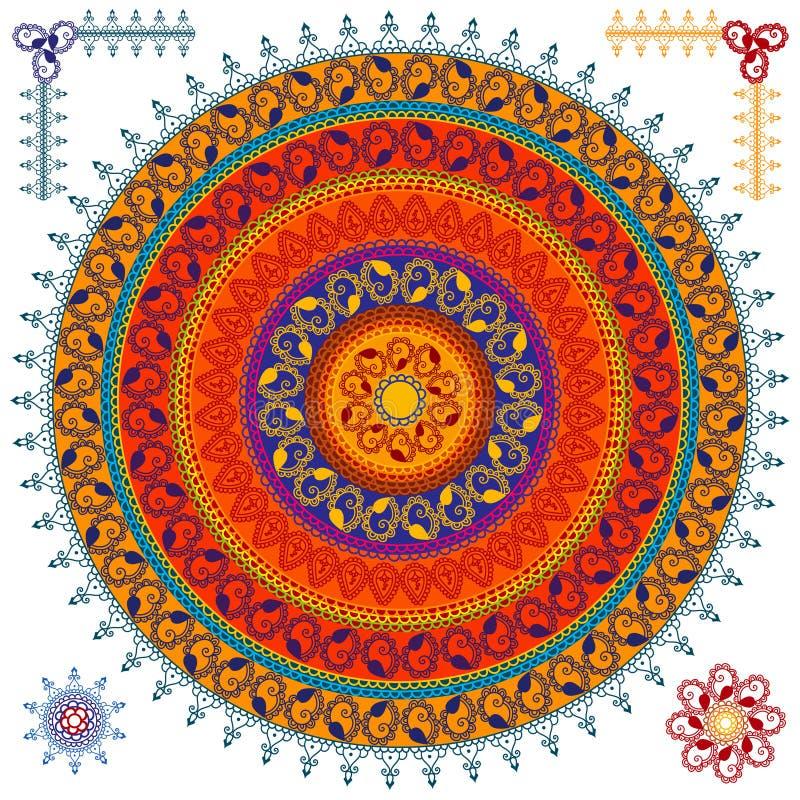 färgglad hennamandala för bakgrund vektor illustrationer