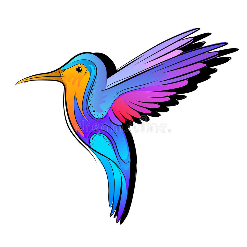 färgglad hummingbirdvektor vektor illustrationer
