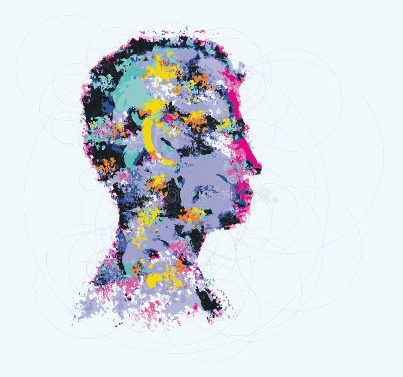 Färgglad illustration av konturn för mänskligt huvud vektor illustrationer