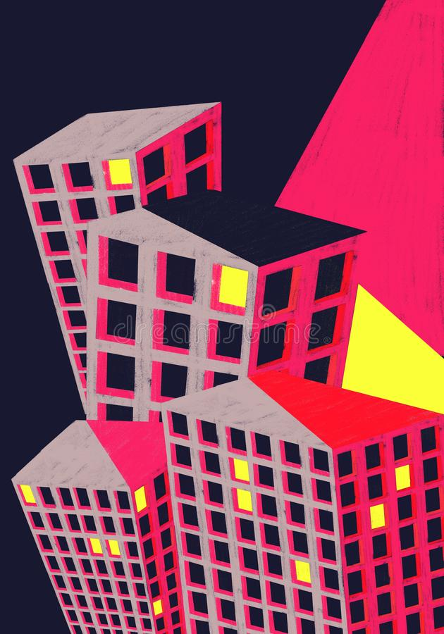 Färgglad illustration för stadsbyggnadsaffisch royaltyfri foto