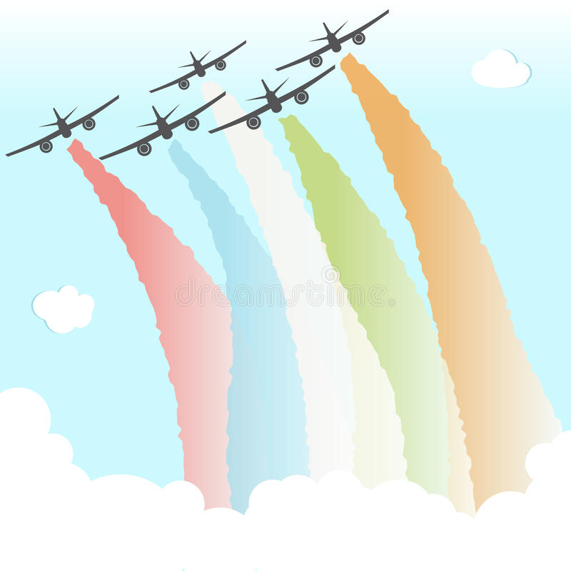 Färgglad illustration för vektor för Joy Peace Plane Cloud Rainbow designfrihet arkivfoton