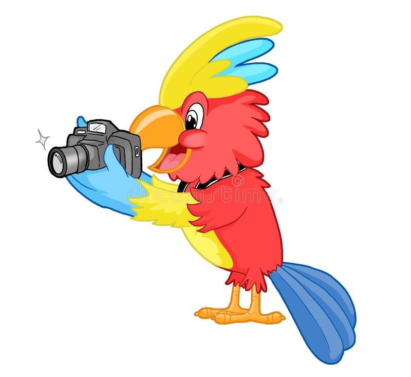 Färgglad kakadua med kameran stock illustrationer