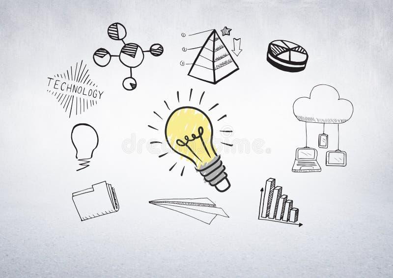 Färgglad lightbulb med grafiska teckningar för för affärsgrafer och diagram royaltyfri illustrationer