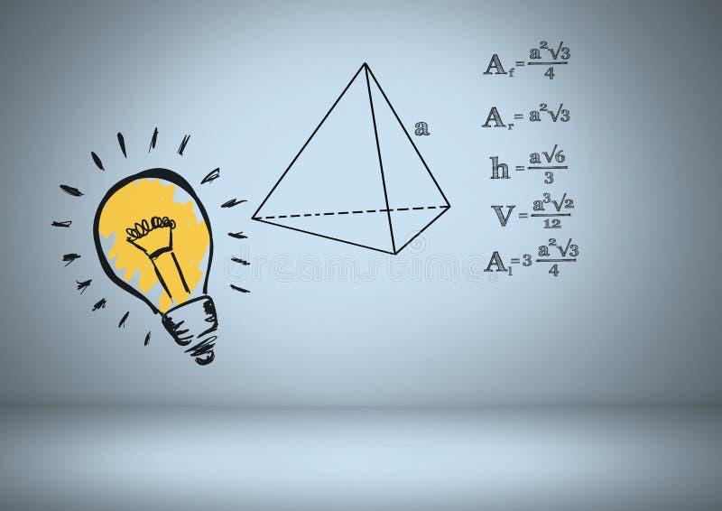 Färgglad lightbulb med grafiska teckningar för likställande stock illustrationer