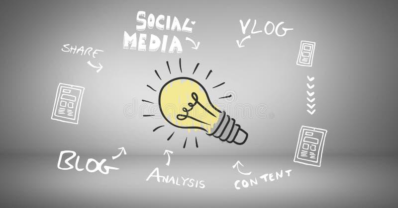 Färgglad lightbulb med sociala teckningar för diagram för massmediabloggaffär royaltyfri illustrationer