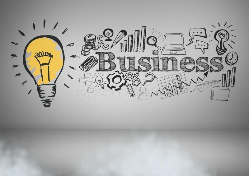 Färgglad lightbulb och affärsman med affärsdiagramteckningar vektor illustrationer