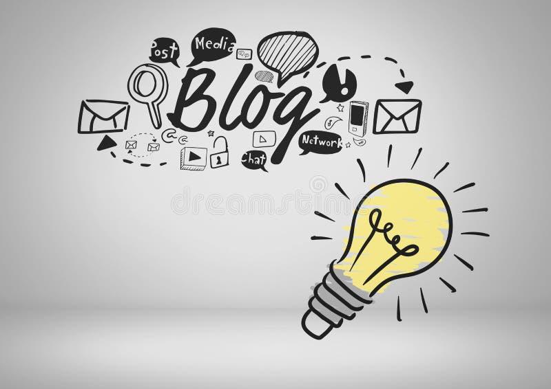 Färgglad lightbulb- och bloggtext och grafiska teckningar vektor illustrationer