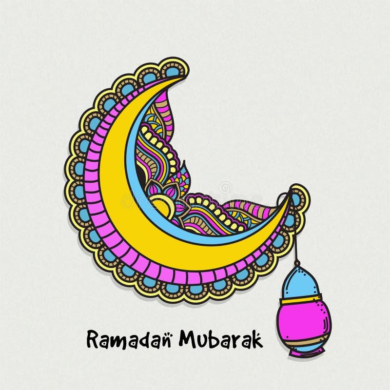 Färgglad måne för Ramadan Mubarak beröm vektor illustrationer