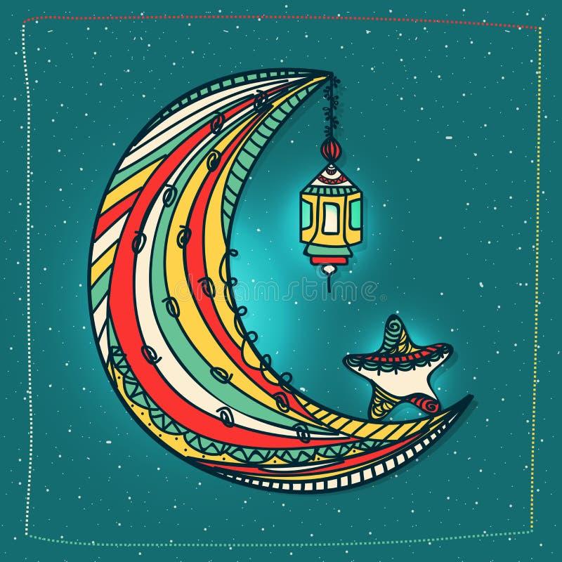 Färgglad måne för Ramadanberöm royaltyfri illustrationer
