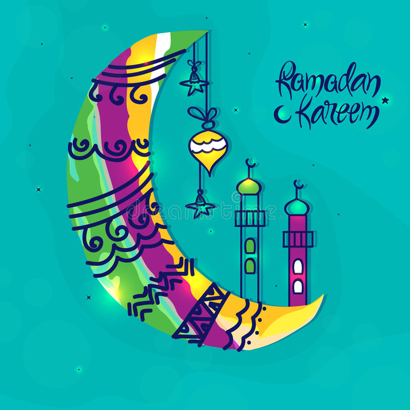 Färgglad måne med moskén för Ramadan Kareem vektor illustrationer