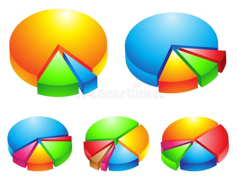 färgglad pie för grafer 3d vektor illustrationer