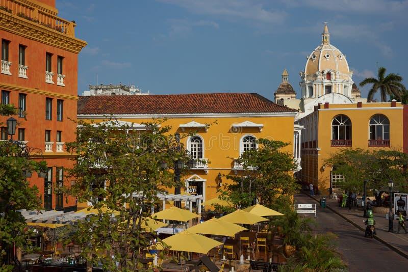 Färgglad Plaza i Cartagena arkivfoto