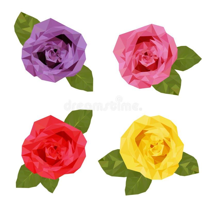 Färgglad polygon för fyra rosor vektor illustrationer