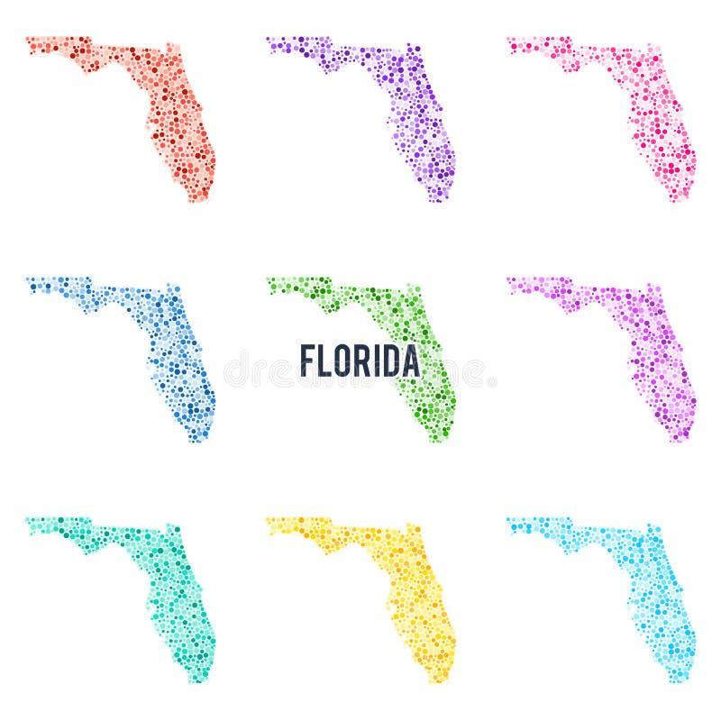 Färgglad prickig översikt för vektor av tillståndet av Florida stock illustrationer