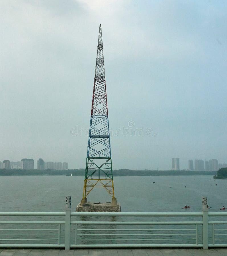 Färgglad pylon i Shenyang, Kina royaltyfri foto