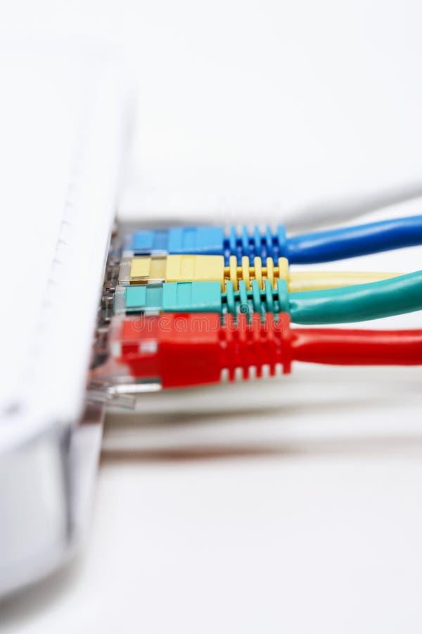 Färgglad rad av proppar för nätverksanslutning arkivfoto