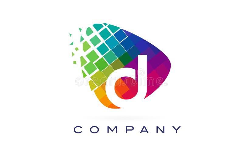 Färgglad regnbåge Logo Design för bokstav D royaltyfri illustrationer