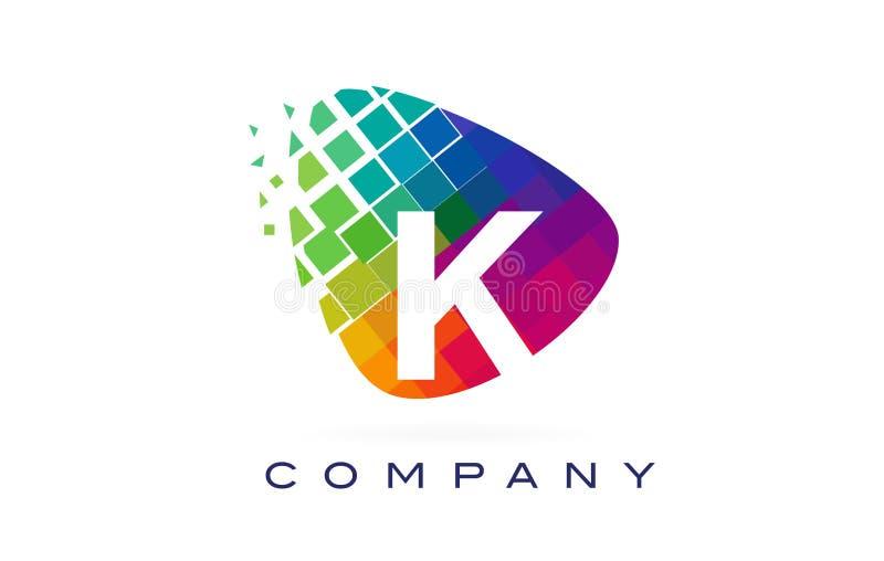 Färgglad regnbåge Logo Design för bokstav K royaltyfri illustrationer