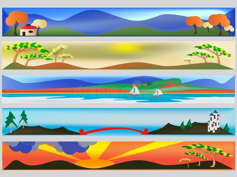 färgglad rengöringsduk för baner royaltyfri illustrationer
