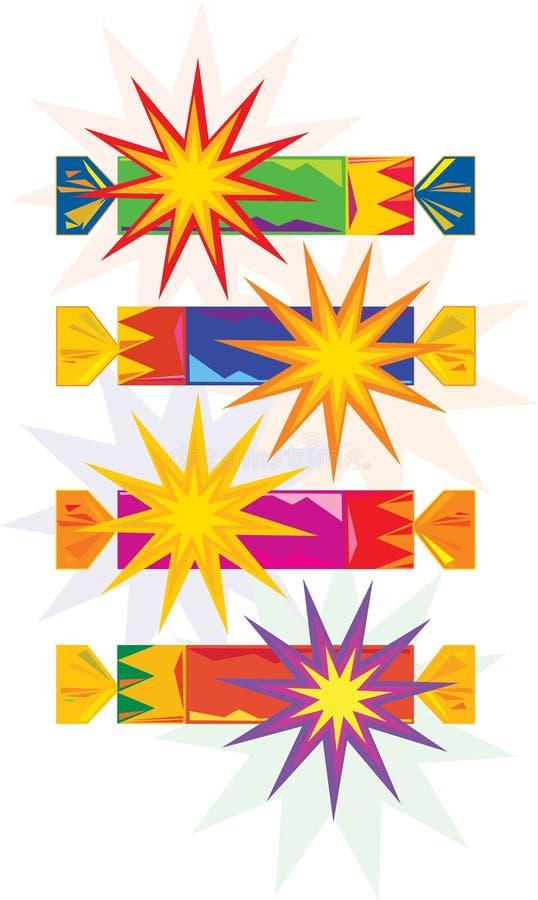 färgglad smällarevektor för jul vektor illustrationer
