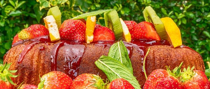 Färgglad sommarkaka med frukt- och mintkaramellsidor arkivfoto