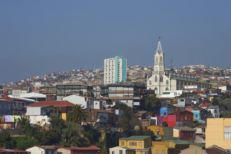 Färgglad stad av Valparaiso, Chile royaltyfri foto