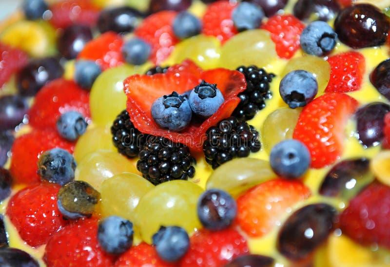 Färgglad toppning för ny frukt på en kaka fotografering för bildbyråer