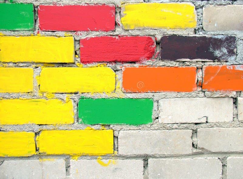 färgglad vägg för tegelstenar arkivbild